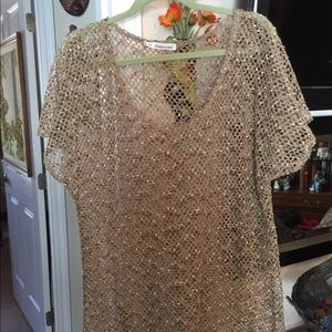 MAURICES Crocheted Tunic Top taupe as 2 (l/xl)